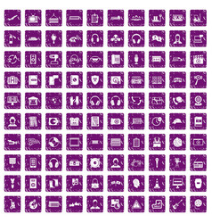 100 headphones icons set grunge purple vector image vector image