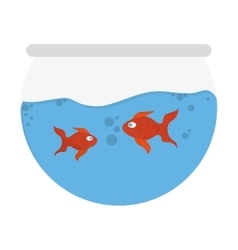 Tank with goldfish icon vector