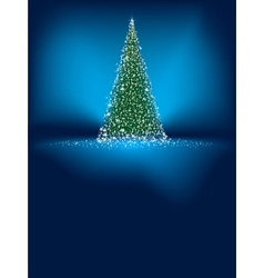 Abstract green christmas tree on blue EPS 8 vector image