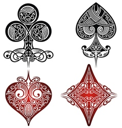 Vintage Playing Cards Symbols Set vector image
