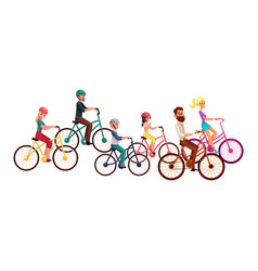 Various people men and women riding bicycles vector
