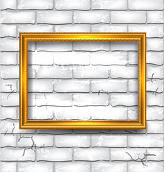 Frame on the white brick wall vector