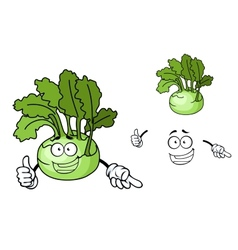 Fun cartoon kohlrabi vegetable vector