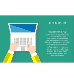 Businessman working at a white laptop vector image