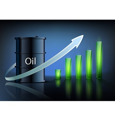 Barrel of oil and business graph vector