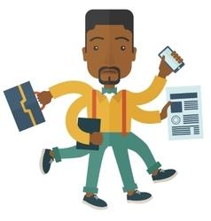 Black guy with multitasking job vector image