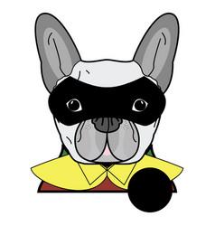 6 superhero symbol as french bulldog character vector