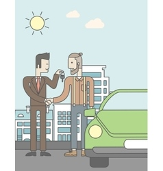 Car salesman giving the car keys to a new owner vector