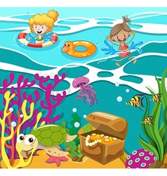 People swimming in the ocean vector