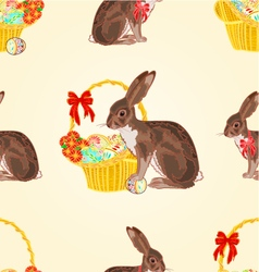 Seamless texture easter hare with wicker basket vector