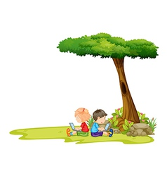 A girl and a boy with laptops under the tree vector image vector image