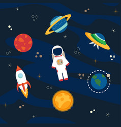astronaut planets and space vector image vector image