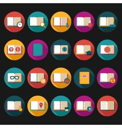 Books and Symbols Flat Icons Set vector image