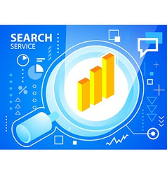 bright glass search and bar chart on blue ba vector image vector image