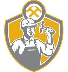 Builder carpenter hammer shield retro vector