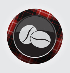 Button red black tartan - two coffee beans icon vector