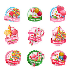 Candy shop emblems set vector