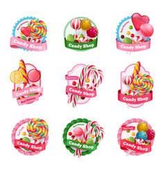 candy shop emblems set vector image vector image