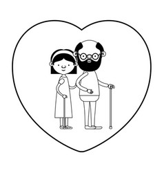 Caricature full body elderly couple in walking vector