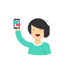 Cartoon happy woman holding smartphone with vector