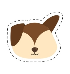 Cartoon puppy dog big ears line dotted vector