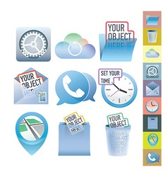 Clean icon set for web design and user interface vector