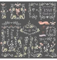 Colored doodles floral decor setborderselements vector