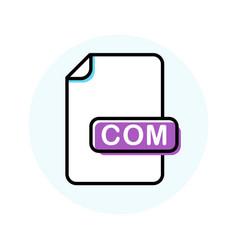Com file format extension color line icon vector