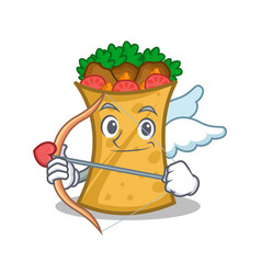 Cupid kebab wrap character cartoon vector