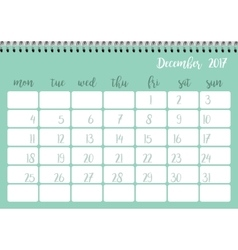 Desk calendar template for month december week vector