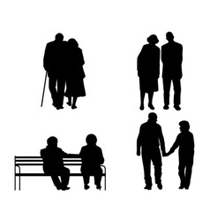 elderly couples silhouettes vector image