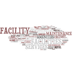 Facility word cloud concept vector