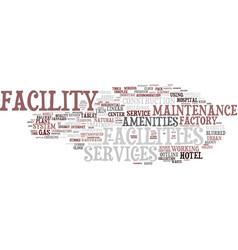 Facility word cloud concept vector