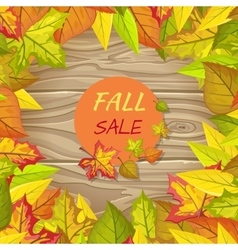 Fall Sale Banner Isolated on Wooden Background vector image