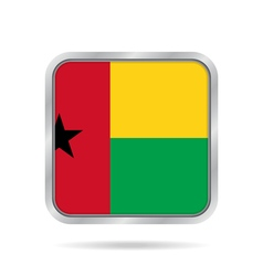 Flag of guinea-bissau metallic gray square button vector