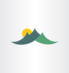 green mountains and sun icon vector image