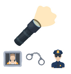 handcuffs policeman prisoner flashlightpolice vector image