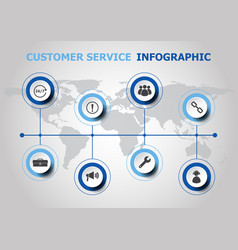 infographic design with customer service icons vector image vector image