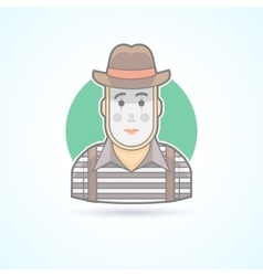 Mime pantomime performer entertainer icon vector image
