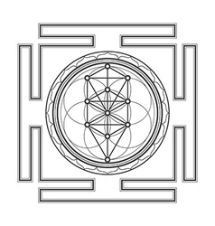 monochrome outline tree of life yantra vector image vector image