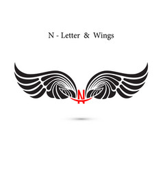 N-letter sign and angel wingsmonogram wing logo vector