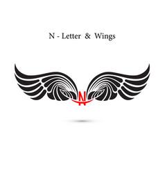 n-letter sign and angel wingsmonogram wing logo vector image