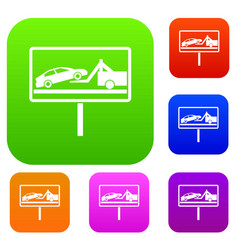 No parking sign set collection vector