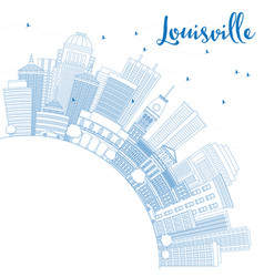outline louisville skyline with blue buildings vector image vector image