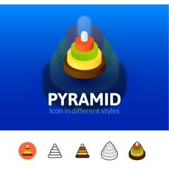 Pyramid icon in different style vector