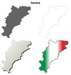 Savona blank detailed outline map set vector