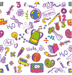 school seamless colorfull pattern vector image vector image