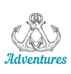 Sketch of retro marine anchors vector