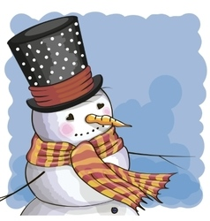 Snowman on a blue vector image vector image