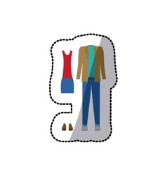 sticker color silhouette with casual clothes vector image